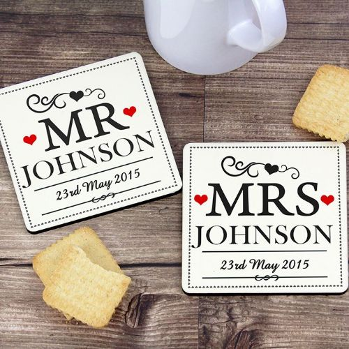 Personalised Mr & Mrs Coaster Set.